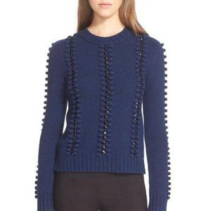 tory burch embellished pom navy sweater xs
